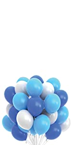white blue party balloons