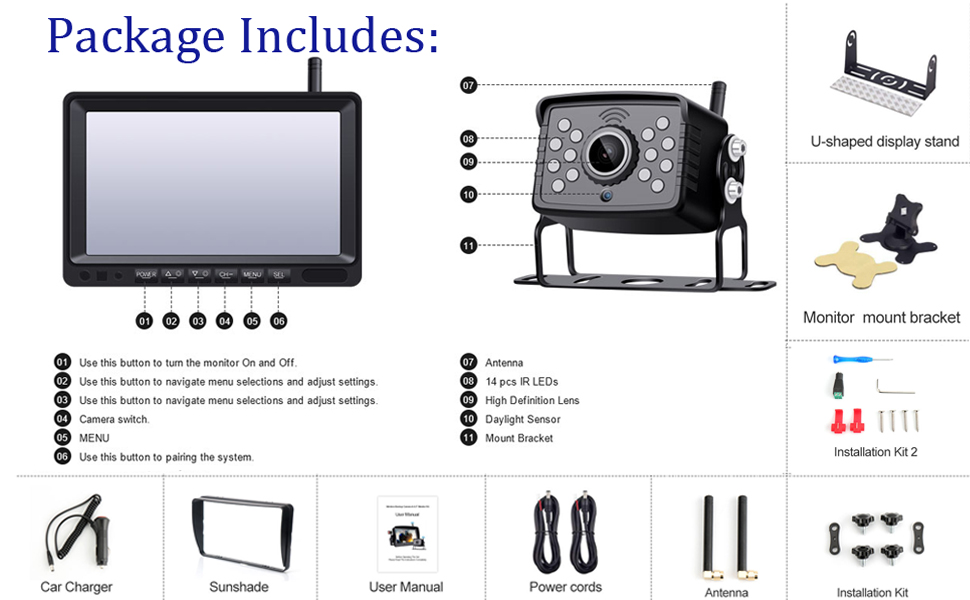 backup camera monitor system include