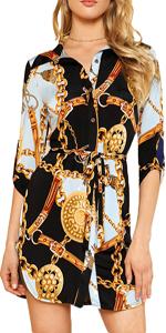 chain printed shirt dress
