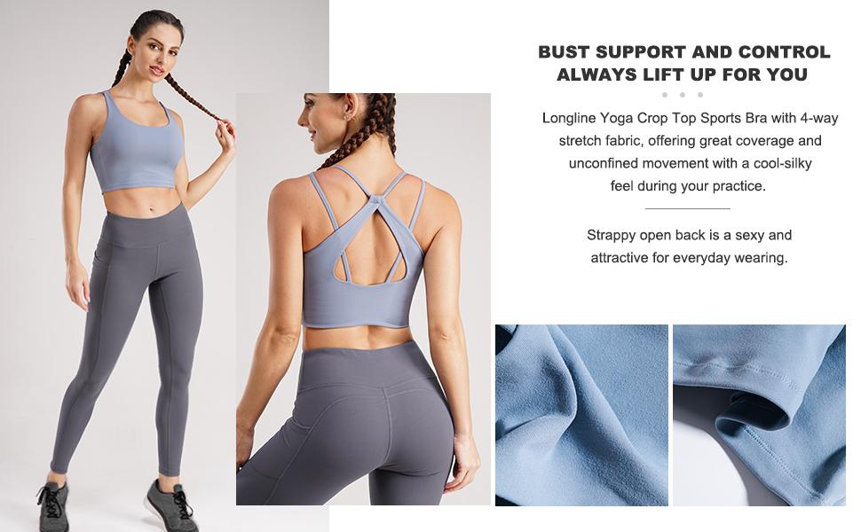 strappy sports yoga bra for women