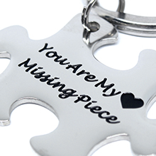 Love Couple Keychain, Stainless Steel Keyring Christmas Gift
