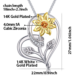 Klurent Sunflower Pendant Necklace