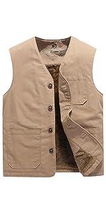 VtuAOL Men's Warm Fleece Vest Padded Puffer Outdoor Casual Thick Jackets