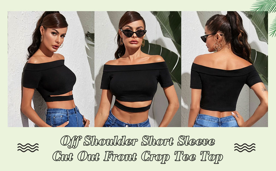 Verdusa Women's Off Shoulder Short Sleeve Cut Out Front Crop Tee Top
