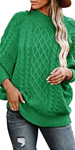 Womens Turtleneck Sweaters Plus Size Chunky Cable Knit Pullovers Long Sleeve Casual Jumper Tops
