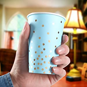 blue and gold party 12oz cups
