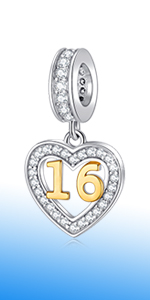925 Sterling Silver 16 Years of Love Birthday Charms fits Pandora Women Bracelet
