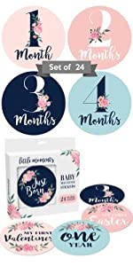 navy blue pink turquoise flower flowery flowers months month box boxed set pack light dark white
