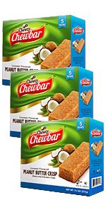 Chewzy Peanut Butter Coconut Crisp Bar Pack of 3