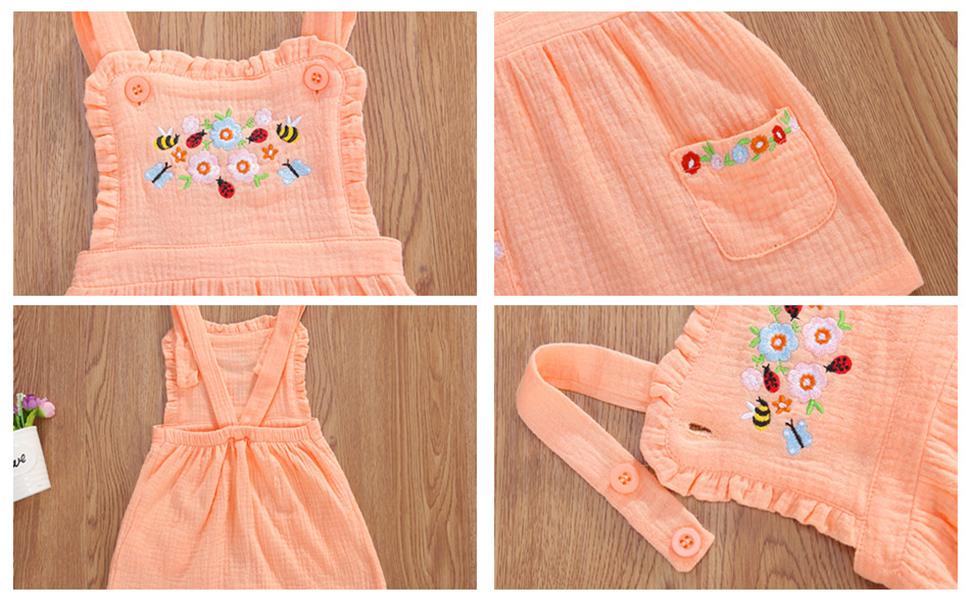 little girl fall suspender skirt dress with pocket