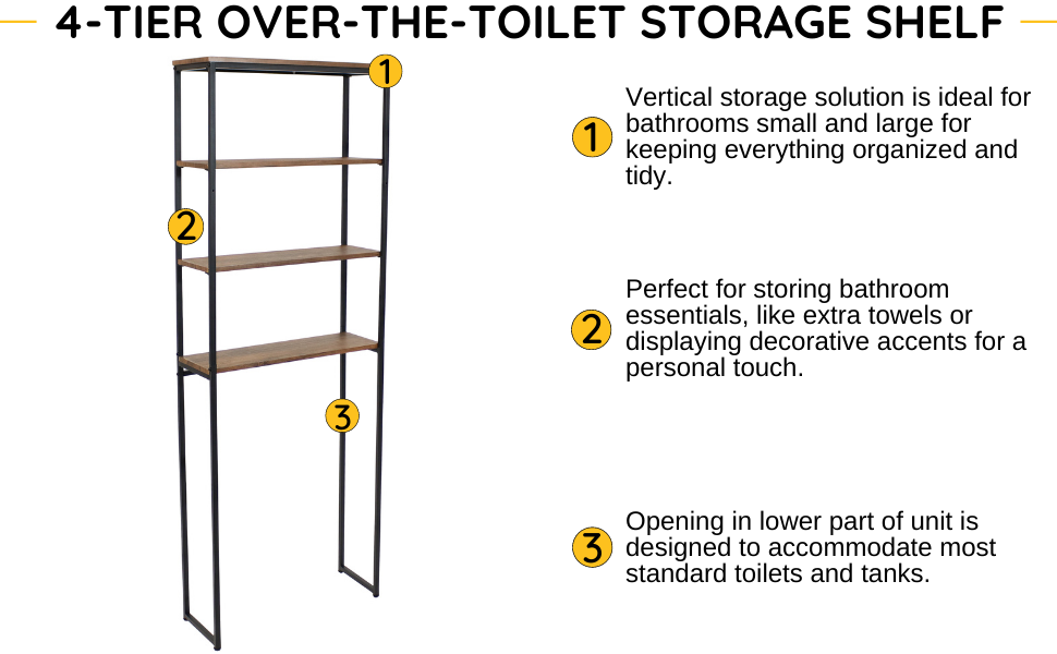 Vertical storage solution is ideal for bathrooms small and large; keeps items organized and tidy.