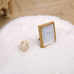 Super Soft Round Rug Faux Fur Wool Oval Carpet Fluffy Shaggy Kids Play Mat