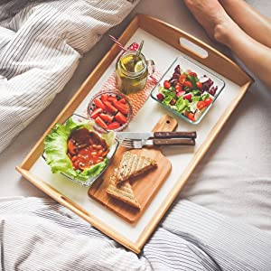 Bamboo Serving Tray for Food and Tea Platter