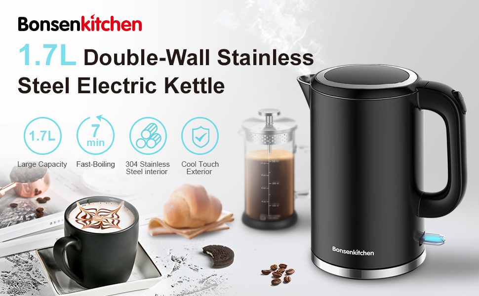 Bonsenkitchen 1.7L Doule-Wall Stainless Steel Electric Kettle