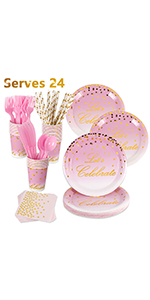 Pink and Gold Dinnerware Set