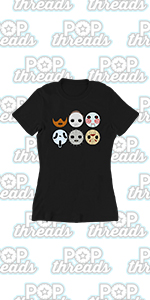 Pop Threads Horror Movie Scary Funny Halloween Jason Retro 80s Graphic Tee T Shirt for Women