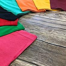 raglan sleeve colors, vibrant colors, hemed sleeves, plain shirts