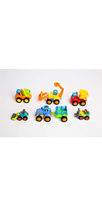 Set of 6 Cartoon Vehicles, Includes 4 Push & Go Friction Car Toys