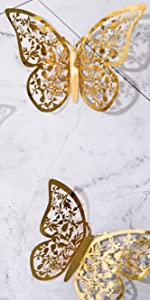 3d gold butterfly wall stickers