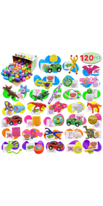 120Pcs Printed Easter Eggs w/toys