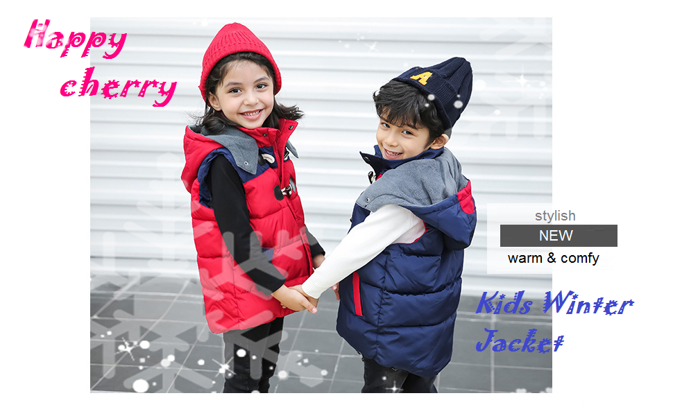 Happy Cherry Kids Padded Vest Winter Puffy Detachable Hooded Zipper up Sleeveless Jacket