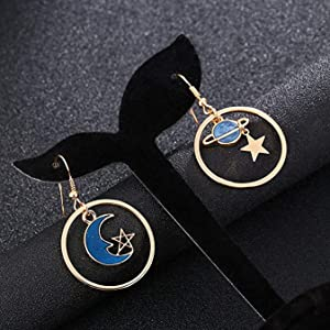 DROLE Gold circle moon and star earrings, which is made by drole earring circle charms.