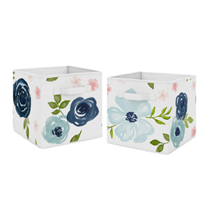 Navy Blue and Pink Watercolor Floral Foldable Fabric Storage Cube Bins Boxes Organizer