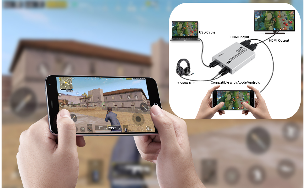 Mobile game live capture card that provides microphone and audio input