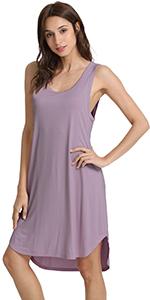 Womens Bamboo Nightgowns Sleeveless Scoop Neck Plus Size Sleepshirts