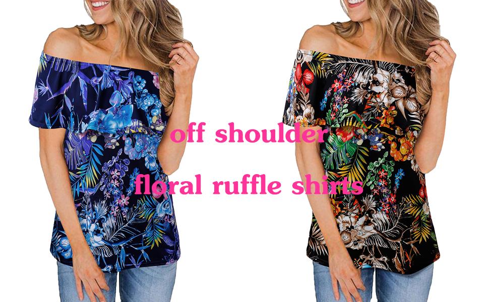 off shoulder ruffle shirts