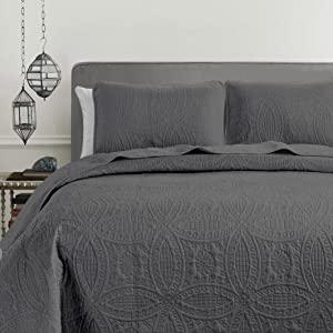 Austin Bedspread Set, Charcoal Gray