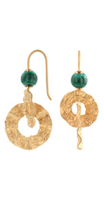Yellow Gold Plated 925 Sterling Silver Interlocking Circle and Malachite Bead Earrings…