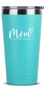 New Mom Gifts Ideas - Mom Est. 2020-16 oz Mint Stainless Steel Tumbler w/Lid - First Time Mommy