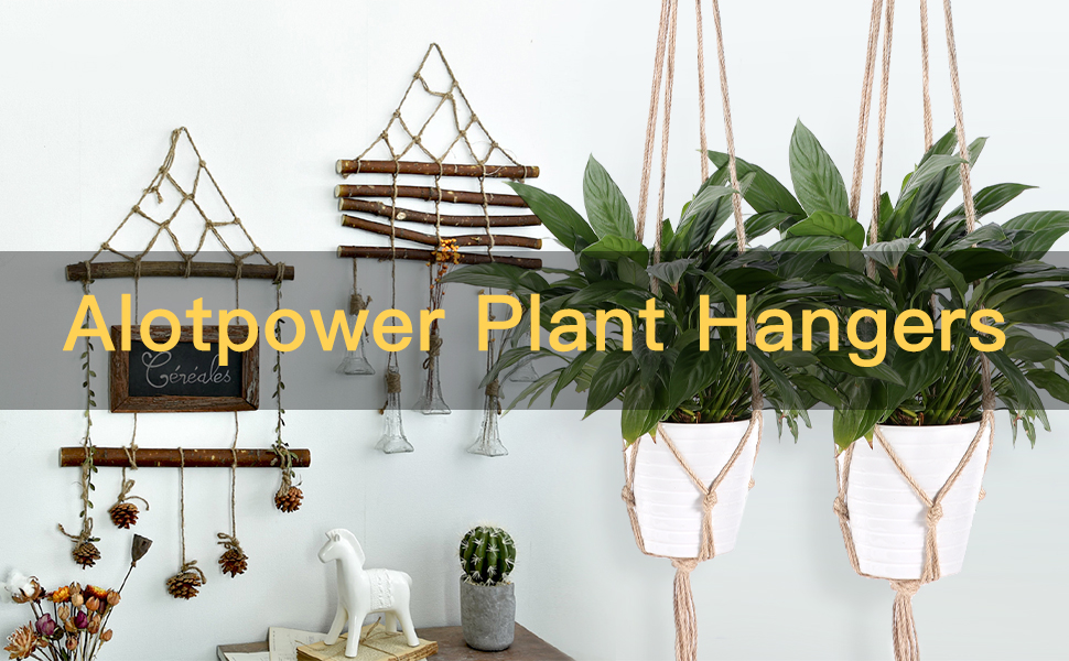 Alotpower Plant Hangers 6 Pack Indoor Outdoor Hanging Plant Holder Hanging Planter Stand Flower Pots For Decorations 3 Size