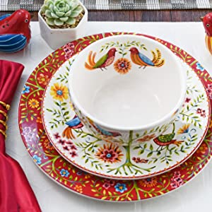 Bico Red Spring Birds Dinner Plates