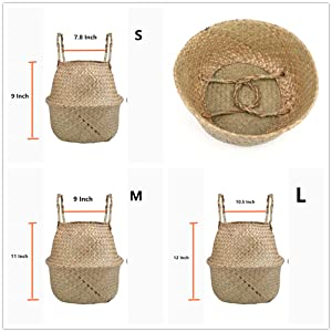 Woven Seagrass Plant Basket with Handles