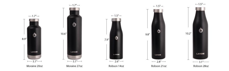 water bottle size chart
