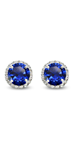 sterling silver round halo stud earrings for women gift holiday luxury jewelry studs christmas day
