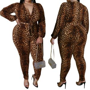 Deep v Neck Leopard Jumpsuit for Women