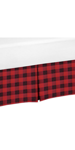 Woodland Buffalo Plaid Boy Pleated Baby Nursery Crib Bed Skirt Dust Ruffle