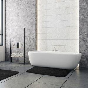 Black bathmats in large beautiful bath room. micro fiber shag bath mat