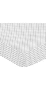Grey and White Lattice Girl Baby or Toddler Nursery Fitted Crib Sheet