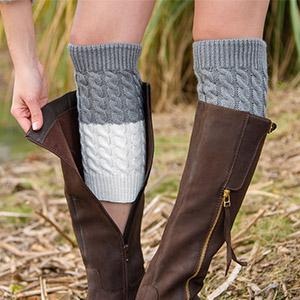 Wine &Grey Leg Warmers