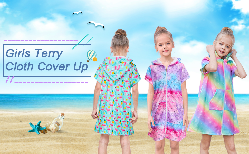 Toddler Beach Cover Up Hooded Cover Up Mermaid Cover Up Pool Cover Up Toddler Swimsuit Cover up Personalized Cover Up