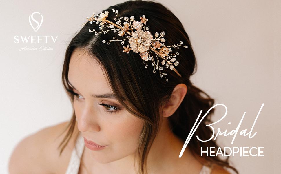 SWEETV Flower-Leaf Bridal Headband Gold