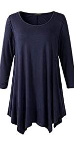 Women Plus Size A-line Loose Basic Shirt Tunic Top