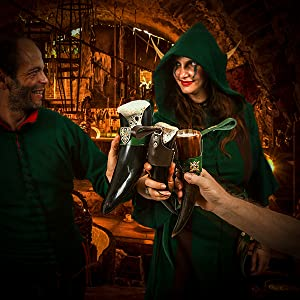 Drinking horn costume viking beer mug belt men medieval drinking game sword thrones sca mythrojan