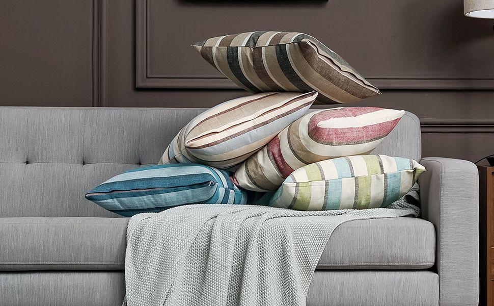 farmhouse burlap linen pillow covers