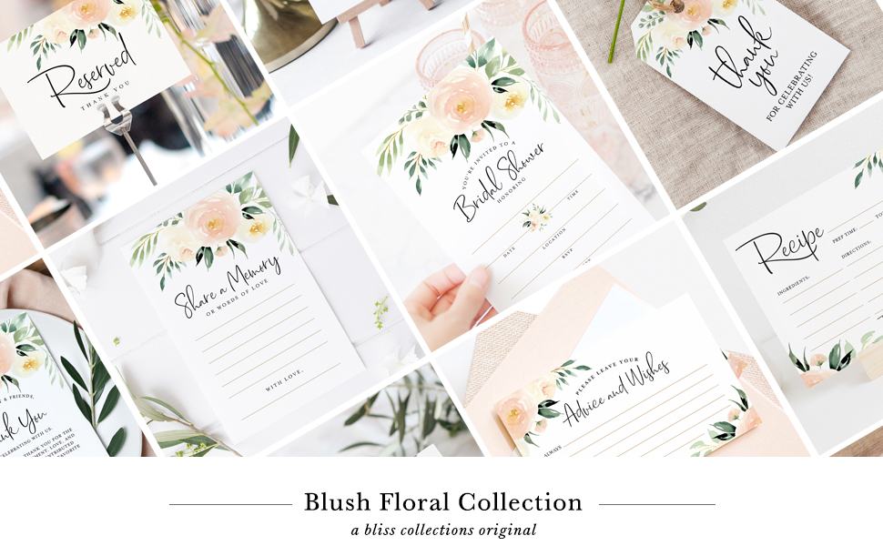 Blush Floral Blush Pink Gold Invitation Table Numbers Tags Advice Cards