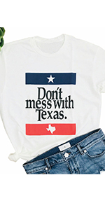 Women Don't Mess with Texas Flag Shirt Independence Day Short Sleeve Casual Tops